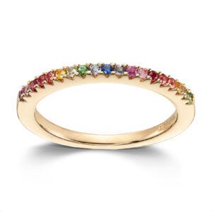 Mestergull Flott ring i gult gull med stener i regnbuens farger MESTERGULL Ring