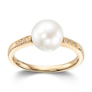 Mestergull Lekker ring i gult gull med ferskvannsperle og diamanter MESTERGULL Ring