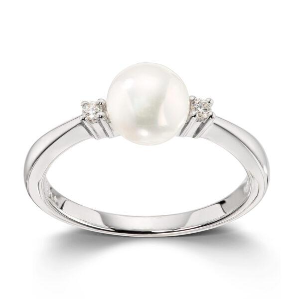 Mestergull Lekker ring i hvitt gull med 2 diamanter og kulturperle 6-7 mm MESTERGULL Ring