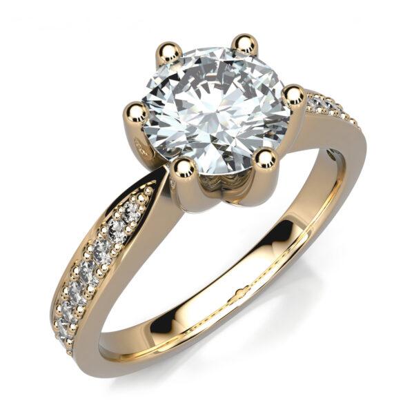 Mestergull Denne ringen er utviklet for gjenbruk av kundens diamant. Ringen er utført i gult gull 585 og fattet med 16 små diamanter. Totalt 0,145 ct. HSI DESIGN STUDIO Spesialdesign Ring