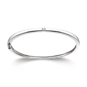Mestergull Klassisk allianse armring i hvitt gull med diamant ALLIANSE Dia. 0,06 ct. Armring