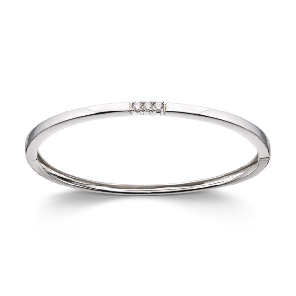 Mestergull Klassisk allianse armring i hvitt gull med diamanter ALLIANSE Dia. 0,06 ct. Armring