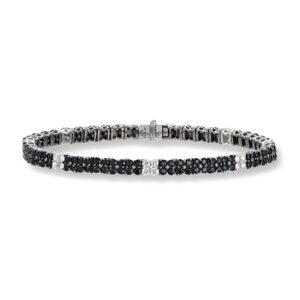 Mestergull Lekkert diamant armbånd i hvitt gull med 32 diamanter og 160 sorte safirer MG DIAMONDS Armbånd