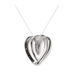 Mestergull Delikat anheng i hvitt gull med sorte og hvite diamanter MG DIAMONDS Anheng