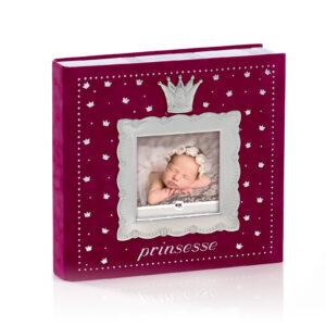Mestergull Fotoalbum til prinsessen i tinn og rød velur med plastlommer til bilder inntil 10 x 15 cm. FOR PRINSESSER Ramme