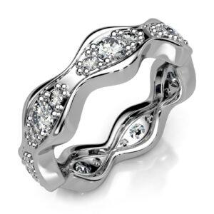 Mestergull Bølgeformet rekkering utviklet for kunde. Ringen er fattet med 21 diamanter. Totalt 1,05 ct. HSI DESIGN STUDIO Spesialdesign Ring