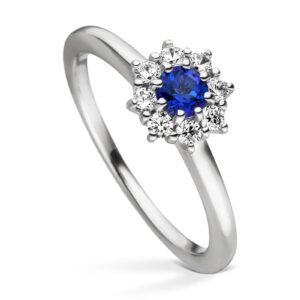 Mestergull Elegant ring i rhodinert sølv med cubic zirkonia og syntetisk topas farge royal blue VIVENTY Ring