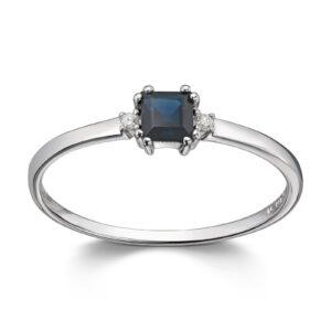 Mestergull Elegant ring i hvitt gull med diamant og safir MG DIAMONDS Ring