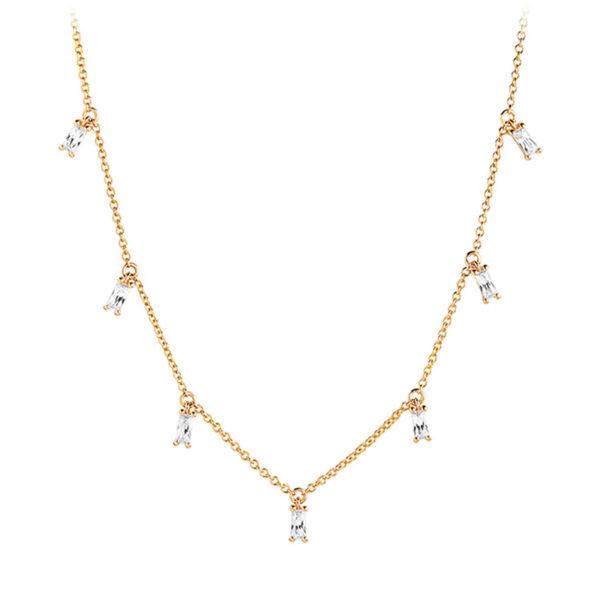 Mestergull Kjede i sølv 925S forgylt med 18K gull, med blankpolert overflate og baguetteslepne klare Zirkonia. SIF JACOBS JEWELLERY Princess Kjede
