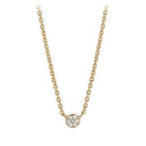 Mestergull Kjede i sølv 925S forgylt med 18K gull, med blankpolert overflate og fasettslepne klare Zirkonia. SIF JACOBS JEWELLERY Cecina Kjede