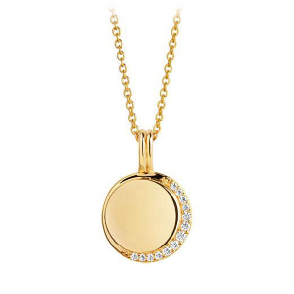 Mestergull Anheng i sølv 925S forgylt med 18K gull, med blankpolert overflate og fasettslepne klare Zirkonia. SIF JACOBS JEWELLERY Portofino Anheng
