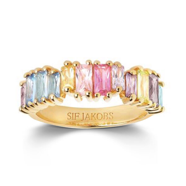 Mestergull Ring i sølv 925s forgylt med 18K gull med blankpolert overflate og flerfargede Baguette Zirkonia. SIF JACOBS JEWELLERY Antella Ring