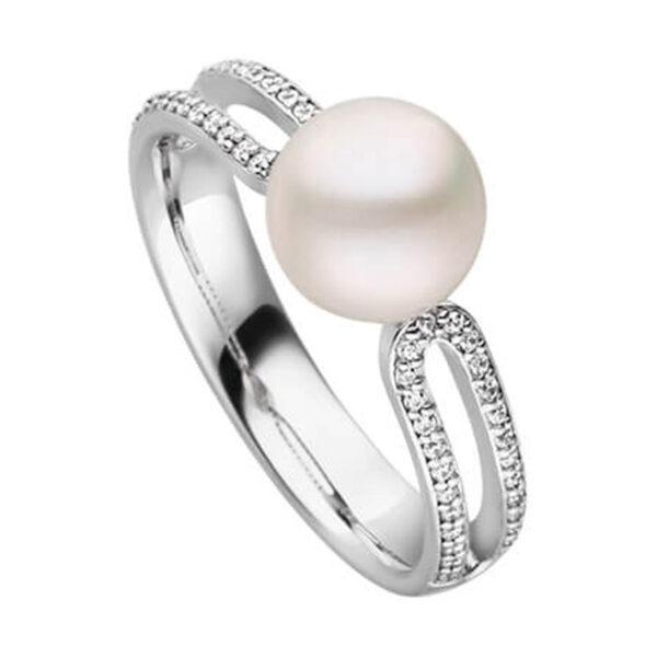 Mestergull Elegant ring i rhodinert sølv med ferskvannsperle og cubic zirkonia VIVENTY Ring