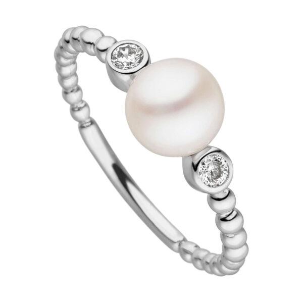 Mestergull Flott ring i rhodinert sølv med ferskvannsperle og cubic zirkonia VIVENTY Ring