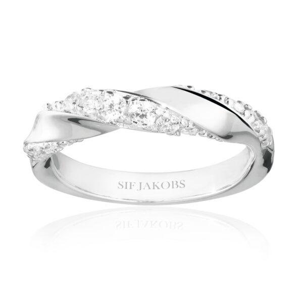 Mestergull Ring i sølv 925S rhodinert, med blankpolert overflate og fasettslepne klare Zirkonia SIF JACOBS JEWELLERY Ferrara Ring