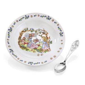 Mestergull Sølv barneskje med grøtskål i porselen i mønsteret Gullhår EIK Barneskje
