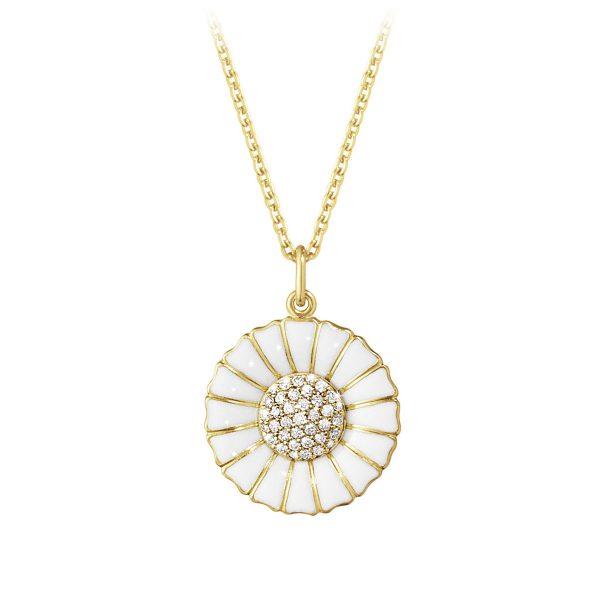 Mestergull Daisy anheng i 18k forgylt sølv med hvit emalje og diamanter GEORG JENSEN Daisy Anheng
