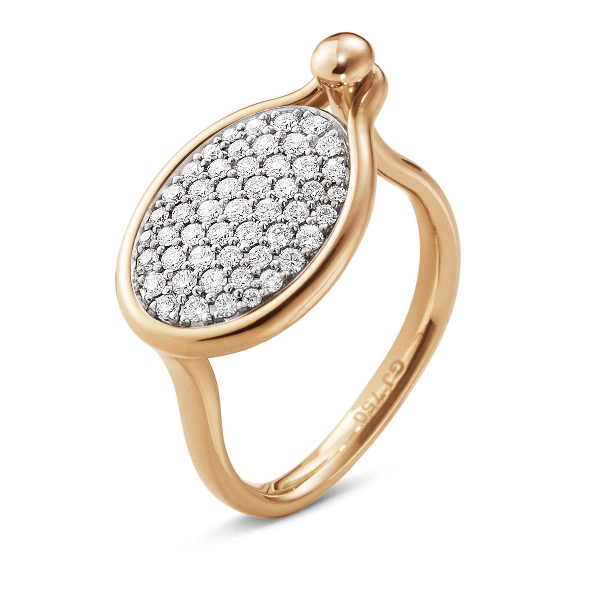 Mestergull Savannah ring Medium i 18 K Rosé Gull med diamanter GEORG JENSEN Savannah Ring