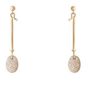 Mestergull Dew Drop Anheng i 18 K Rosé Gull med lyse brune diamanter GEORG JENSEN Vivianna Ørepynt