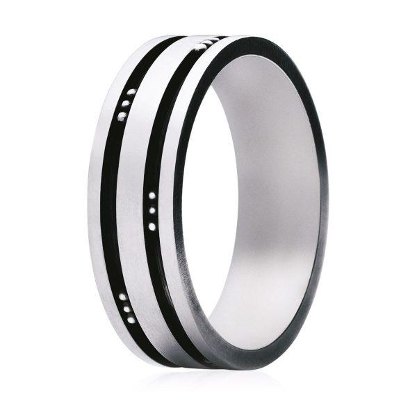 Mestergull Groove Ring i oksidert sølv GEORG JENSEN Grove Ring