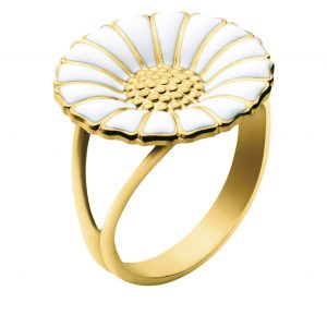 Mestergull Daisy Ring i sølv med hvit emalje GEORG JENSEN Daisy Ring