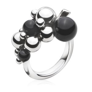 Mestergull Grape Ring i oksidert sølv med Onyx GEORG JENSEN Grape Ring