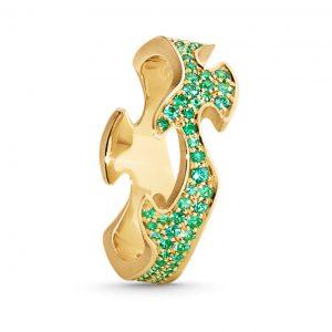 Mestergull Fushion Centre Ring i 18 K Hvitt gull med smaragder pavé GEORG JENSEN Fusion Ring