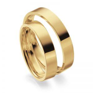 Mestergull Denne ringprofilen er flat utenpå med rette kanter, men innvendig er den buet for å gi god komfort. Her vist i gult gull og 4,0 mm bredde. Prisen nedenfor er pr. ring. LYKKERINGENE Eksempel Ring
