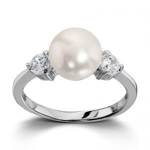 Mestergull Klassisk ring i rhodinert sølv med ferskvannsperle og hvit cubic zirkonia GID Ring