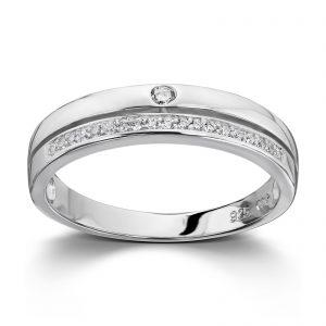 Mestergull Elegant ring i rhodinert sølv med hvite cubic zirkonia GID Ring