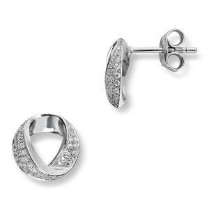 Mestergull Flott ørepynt i rhodinert sølv med hvite cubic zirkonia GID Ørepynt