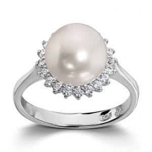 Mestergull Lekker ring i rhodinert sølv med ferskvannsperle og hvite cubic zirkonia GID Ring
