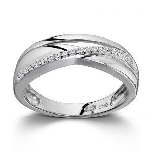 Mestergull Flott ring i rhodinert sølv med hvite cubic zirkonia GID Ring