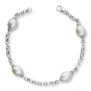 Mestergull Flott armbånd i rhodinert sølv med ferskvannsperler GID Armbånd