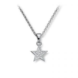 Mestergull Enkelt stjerneanheng i rhodinert sølv med hvite cubic zirkonia GID Anheng