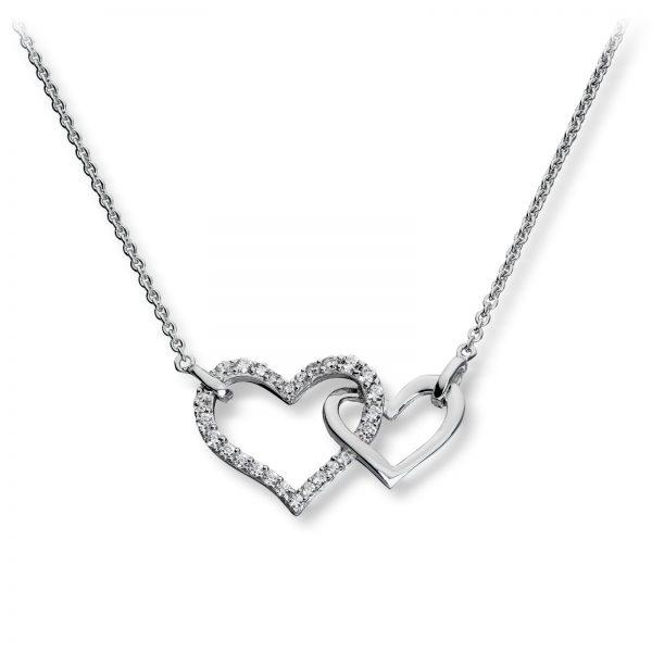 Mestergull Flott hjerteanheng i rhodinert sølv med hvite cubic zirkonia GID Anheng