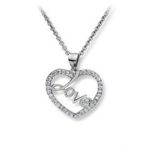 Mestergull Tøft hjerteanheng - Love - i rhodinert sølv med hvite cubic zirkonia GID Anheng