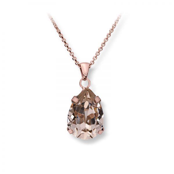 Mestergull Lekkert anheng i rosèforgylt sølv med rosa swarovski krystall GID Anheng