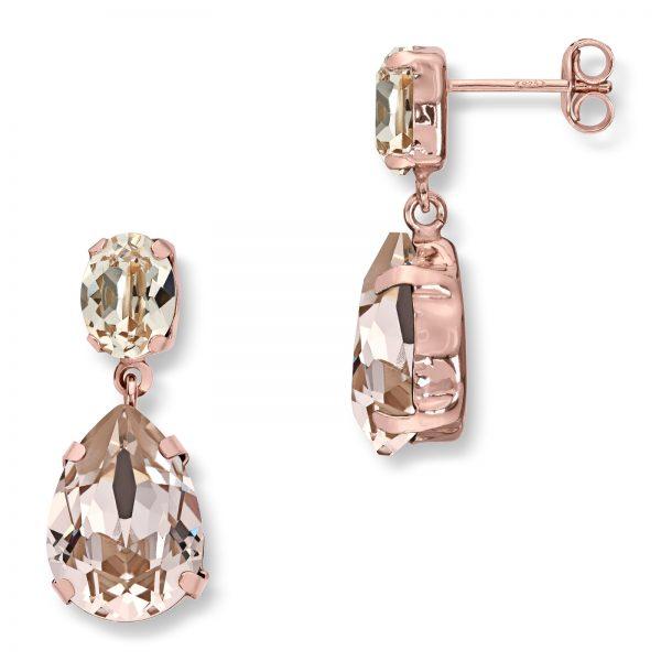 Mestergull Lekker ørepynt i rosèforgylt sølv med rosa og champagne swarovski krystall GID Ørepynt