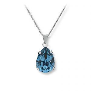 Mestergull Lekkert anheng i rhodinert sølv med london blue swarovski krystall GID Anheng