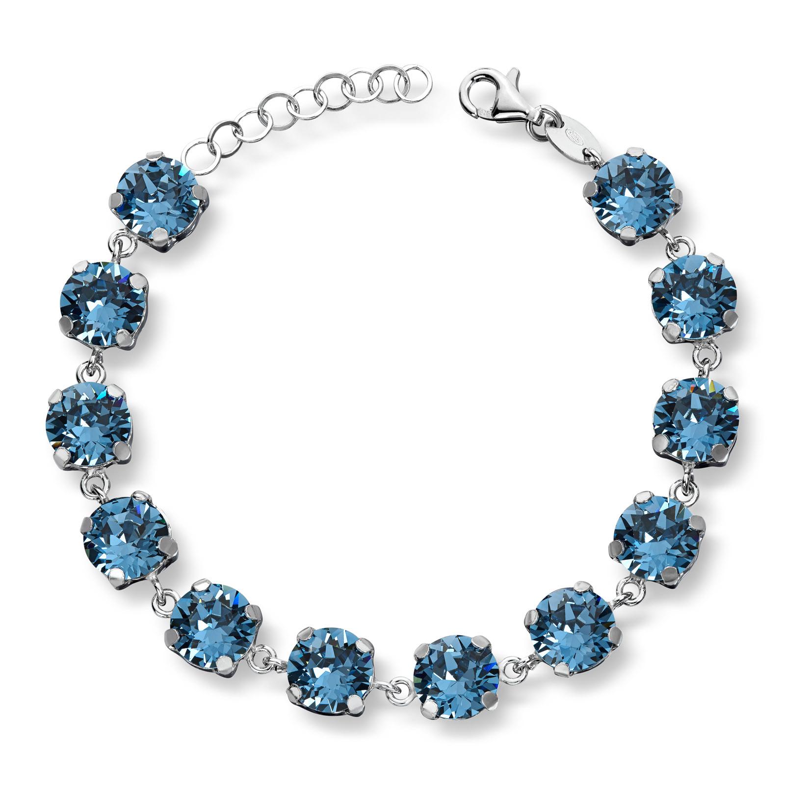 Mestergull Lekkert armbånd i rhodinert sølv med london blue swarovski krystaller GID Armbånd