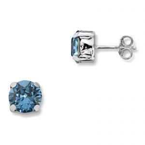 Mestergull Lekker ørepynt i rhodinert sølv med london blue swarovski krystaller GID Ørepynt