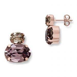 Mestergull Lekker ørepynt i rosèforgylt sølv med rosa og champagne swarovski krystaller GID Ørepynt