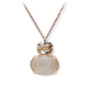 Mestergull Lekkert anheng i rosèforgylt sølv med creme mix av swarovski krystaller GID Anheng