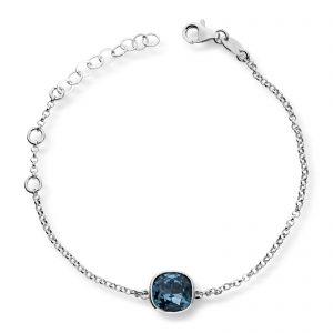 Mestergull Lekkert armbånd i rhodinert sølv med blå krystall GID Armbånd