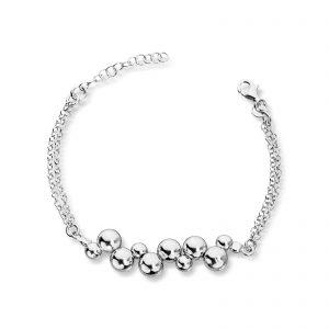 Mestergull Fint armbånd i rhodinert sølv med sølv kuler GID Armbånd