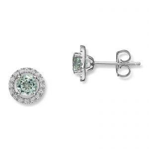 Mestergull Flott ørepynt i hvitt gull med grønn prasiolitt og diamanter MG DIAMONDS Ørepynt
