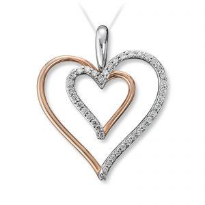 Mestergull Delikat og åpent diamanthjerte i tofarget gull MG DIAMONDS Anheng