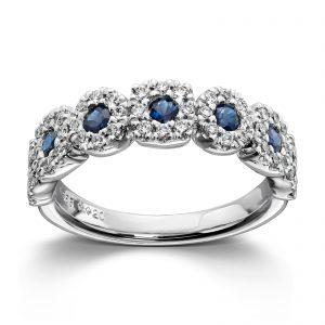 Mestergull Lekker ring i hvitt gull med diamanter og safirer MG DIAMONDS Ring