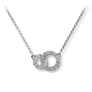 Mestergull Delikat kjede i hvitt gull med diamanter MG DIAMONDS Anheng